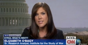 "Disgraced Syria ""expert"" Elizabeth O'Bagy. During the most intense two weeks of Syria debate in late August/early September, she was featured on multiple major news networks as an objective expert on the Syrian rebels. She was actually a paid advocate for the rebels through the D.C. based Syrian Emergency Task Force. She was fired from the hawkish Institute for the Study of War for lying about possessing a PhD from Georgetown University."