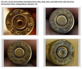 UK-based Conflict Armament Research investigators found this expended ammunition at ISIS firing positions in northern Iraq. The bullets were manufactured at the Lake City Army Ammunition Plant in Independence, Missouri.